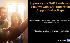 SAP webinar: Improve your SAP Landscape Security with SAP Enterprise Support Value Maps